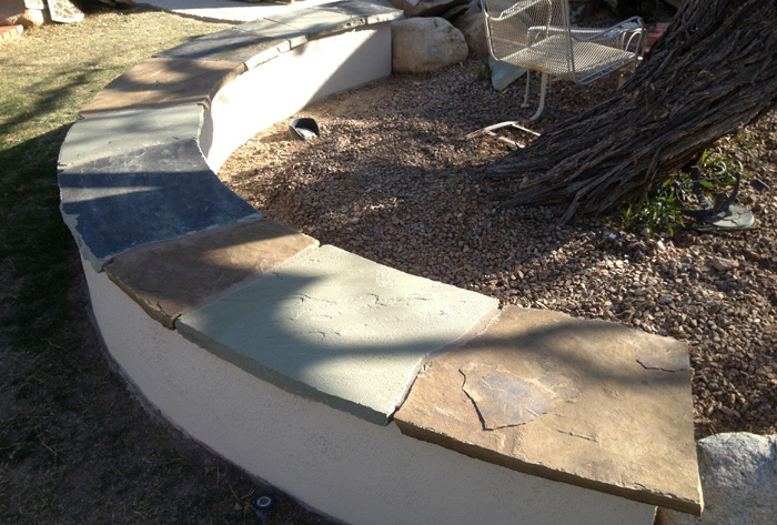 Flagstone Capped Seat Wall